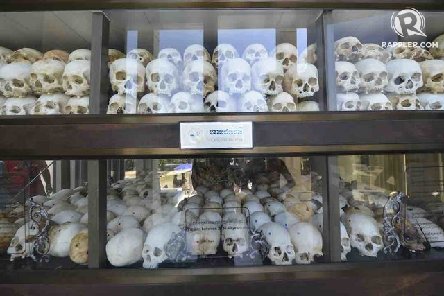 MILLIONS KILLED. From 1975 to 1979, PolPot's Khmer Rouge killed nearly 2 million Cambodians. These bones were displayed in a memorial at the Killing Fields at Choeung Ek in Phnom Penh. Photo by Jing Magsaysay/Rappler