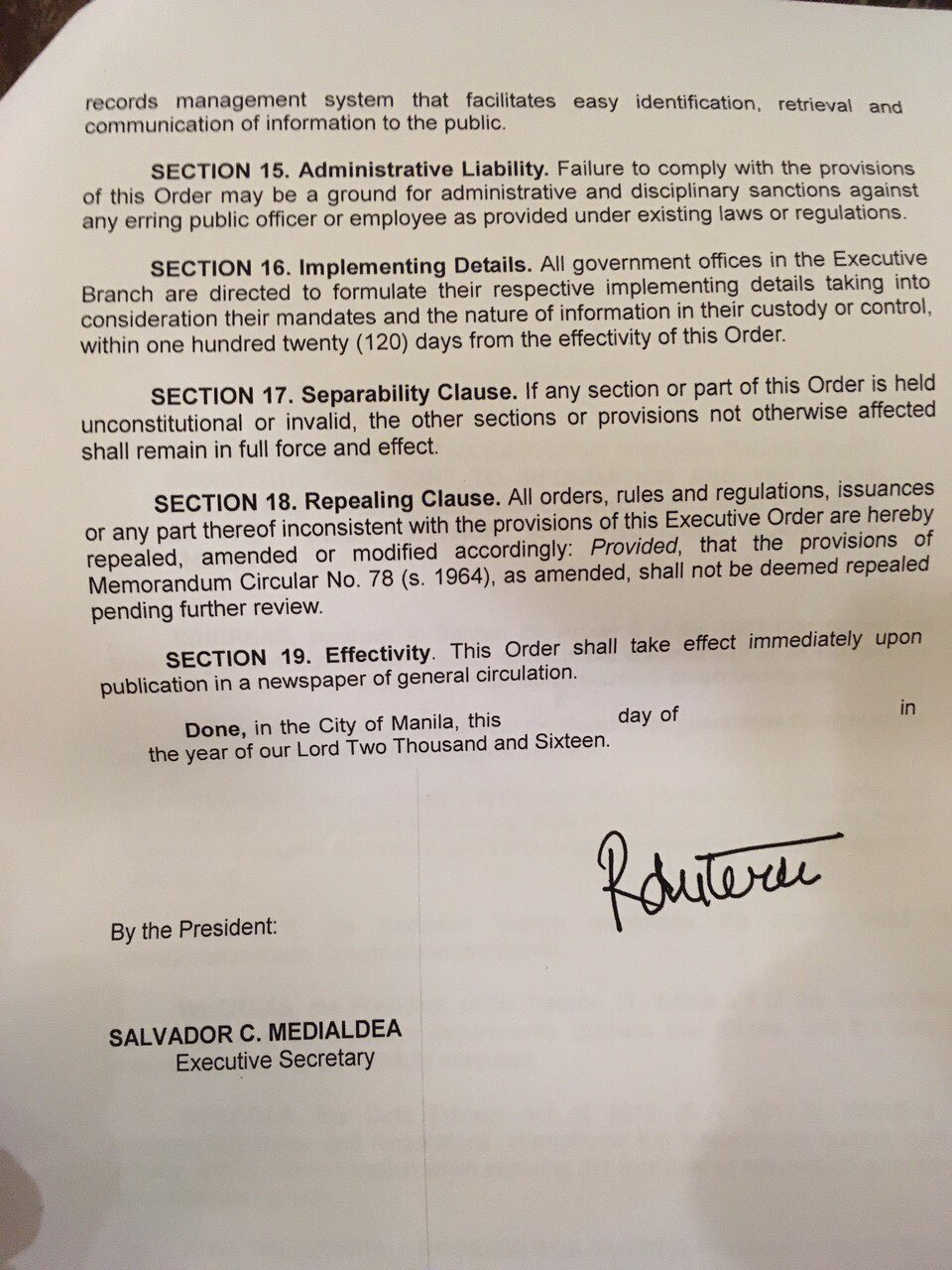 Duterte Signs Order On Freedom Of Information