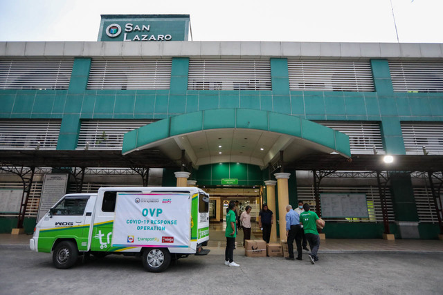 FOR THE FRONTLINERS. OVP staff and volunteers deliver a batch of PPEs for medical professionals on duty at the San Lazaro Hospital in Manila on March 16, 2020. Photo by OVP