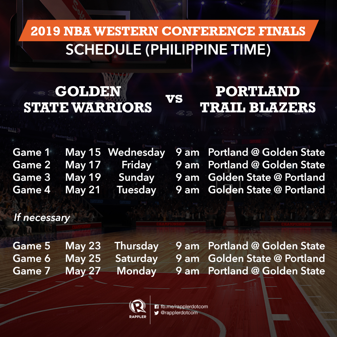 Nba Finals Schedule 2019 GAME SCHEDULE: NBA Western and Eastern Conference finals 2019