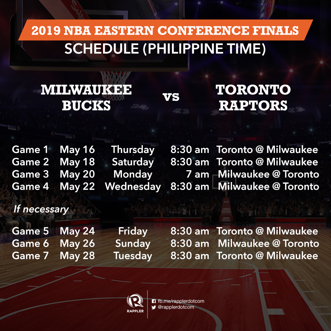 GAME SCHEDULE: NBA Western And Eastern Conference Finals 2019