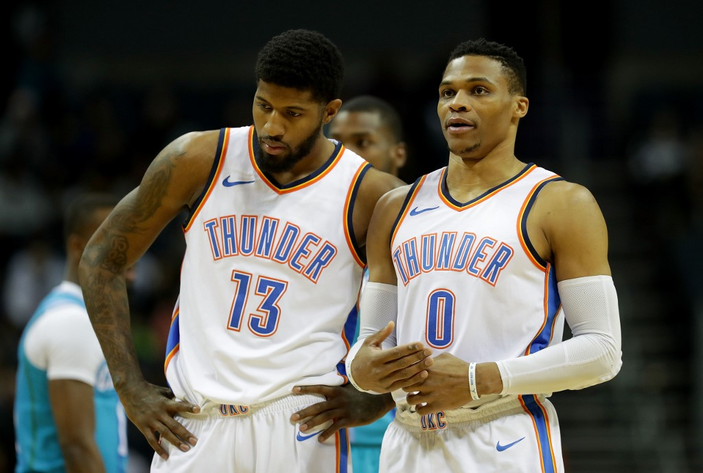 f7a2677fb26d RECOVERING. Paul George and Russell Westbrook look forward to the next  season after the Thunder s