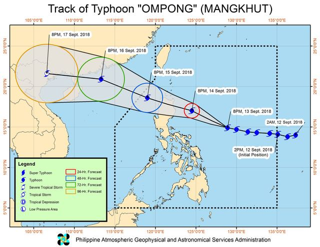 Forecast track of Typhoon Ompong (Mangkhut) as of September 13, 2018, 11 pm. Image from PAGASA