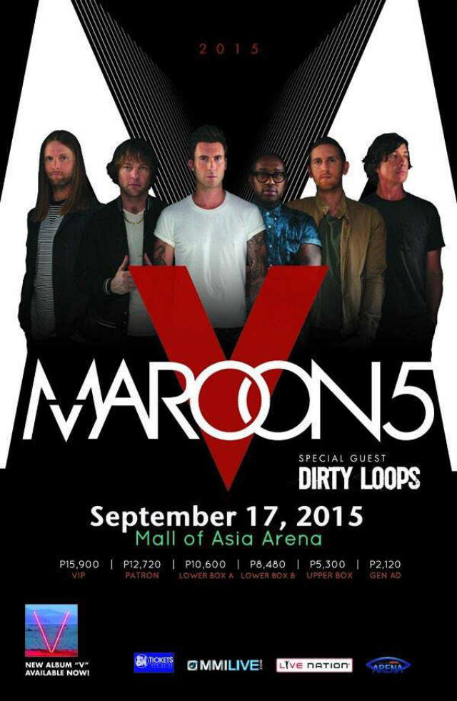maroon 5 coming to manila for 2015 concert. Black Bedroom Furniture Sets. Home Design Ideas